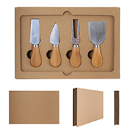 5-Piece Cheese Knife Set & Bamboo Cutting Board w/ Gift Box